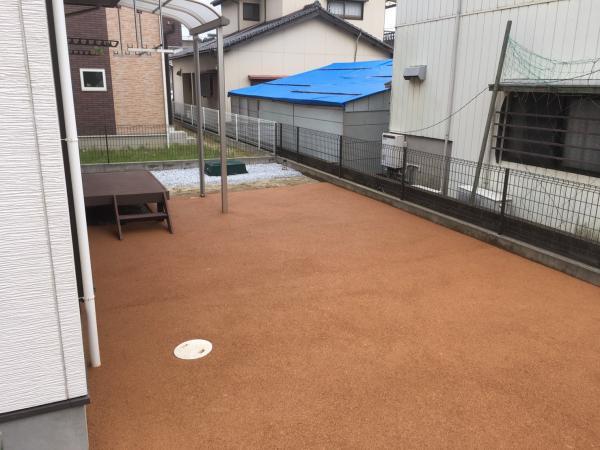 2017/5/10 若松区 E邸 ガチン固 施工! 家のお庭をガチン固施工致しました。 広々とした空間でお庭でたくさん遊べますね!