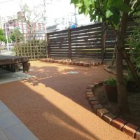 2017/6/17 八幡西区のM邸をガチン固施工致しました! プリコロレンガの花壇とガチン固で、明るい庭になりました!