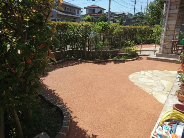 2017/8/30 若松区高須東のO邸をガチン固と乱調施工! ピンコロで花壇を作り、お洒落な庭になりました!