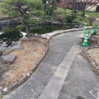 2017/3/27 施工! 八幡西区 御手洗公園! 池の周りを施工し、池が綺麗に見える様になりました。